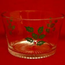 INDIANA GLASS CHRISTMAS HOLLY Punch Ice Serving Bowl Clear Glass
