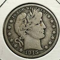 1915-S  SILVER BARBER HALF DOLLAR  COIN