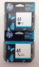 Genuine HP 61 Ink Cartridges, One Each of Tricolor and Black, Expires 2019