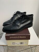 Johnston & Murphy Domani Men's 9 M Made in Italy Black Leather Cap Toe Boot