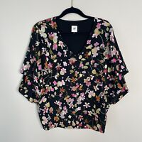 Cabi Charm Blouse Multicolor Floral Short Sleeve V Neck Top Women's Size Small