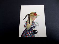 Unused Marjorie M Cooper Xmas Greeting Card Little Girl in a Cute Dress and Hat