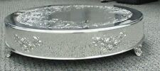 """Silver Plate Embossed Cake Stand Plateau 16"""" Round"""