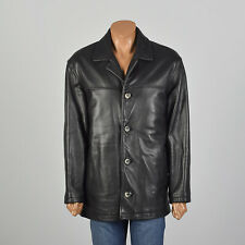 Large Guess Black Leather Jacket Heavyweight Winter Zip in Fuzzy Liner Coat VTG