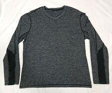 Lululemon Speed Black Gray Striped Long Sleeved V-Neck Casual Shirt Size X-Large