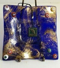 Arte Di Murano Cobalt Blue Dish Raised Millefiori With Gold Original Label Tag