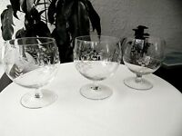 "Set of 3 Clear Bohemian Brandy Glasses 4 1/2"" Tall"