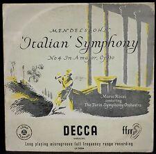 Mendelssohn Symphonie 4 Mario Rossi Decca England LX 3004 E.O. LP EX, CV VG++