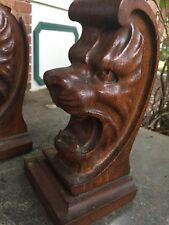 Oak Lion Head Carved Figures Bookends? Pair