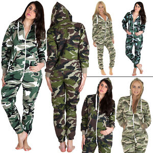 Mens Womens Camouflage All In One Hooded Jumpsuit Nightwear Pajama Plus Size