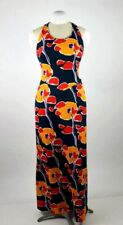 Vintage 80s Water Color Floral Halter Top Full Length Hawaiian Maxi Sun Dress S