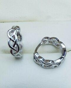 316L Titanium Steel Chain Link Twist Cross Over Huggie Earrings  12x4mm GIFTS