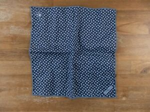 CORNELIANI blue motif linen pocket square authentic