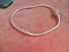 """NEW~Sterling Silver .925 Round Snake European Charm Bracelet  8.5""""~NWOT"""