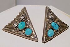 1980 Sterling Silver Turquoise Collar Tips With Back Screw Hallmark J C Y Navajo