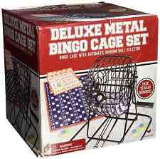 Deluxe Wire Metal Cage BINGO SET Game Kit Cards Balls Mixing Family Complete NEW