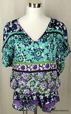 Forever 21 M Batwing Dolman Aqua Blue Purple & White Floral Tummy Hiding Blouse