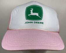 Vintage John Deere Pink Hat Ladies Cap Farming Farm Lawn Tractor Grass Lawncare