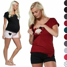 HAPPY MAMA Women's Maternity Breastfeeding Short Pants Nursing Pyjamas 1026