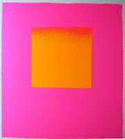 RUPPRECHT GEIGER - Orange auf Pink. Unsignierter Siebdruck 65,5 x 59,5 cm