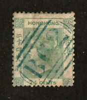 Hong Kong stamp #5, used, 1862, Queen Victoria, 24c green, SCV $110