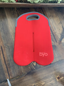 Built By NY BYO Neoprene Wine Two Bottle Bag Tote Carrier Red On The Go