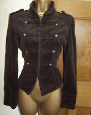 FABULOUS ❤️ JANE NORMAN Brown Corduroy Military Jacket Size 10 - 12