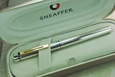 NEW Sheaffer Targa 1006X Solid STERLING SILVER Chequered GP Classic, Fine Point