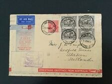 More details for australia 1931 1st official airmail to uk with 4 x 6d sepia airmail stamps(f494)