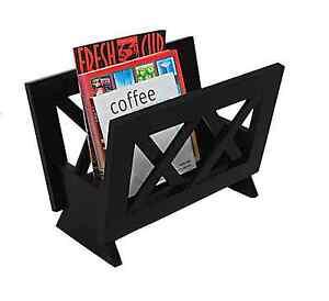 Contemporary Style Wood Magazine Rack Holder Storage Organizer, Dark Mahogany
