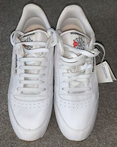 Reebok Classic Mens Trainers, Leather Gum Sole - White, Size 10 - Brand New