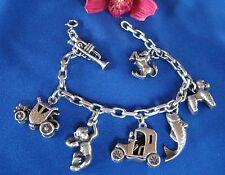 Armband mit 7 großen Anhänger 800 bis 835 Silber Charms Bettelarmband / bb 067