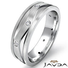 Eternity Wedding Band Round Cut Bezel Set Diamond Men Solid Ring Platinum 0.13Ct