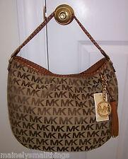 NWT Michael Kors Bennet Large Shoulder Bag MK Sig Jacquard  Beige/Ebony/Luggage