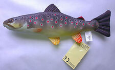 NEW SMALL GABY YOUNG BROWN TROUT SOFT TOY FISH PILLOW GIFT FLY FISHING Cushion