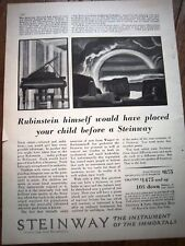 1929 STEINWAY PIANO Rubinstein Himself Ad