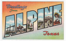 Greetings from Alpine Texas Large Letter linen postcard