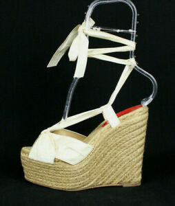 CHRISTIAN LOUBOUTIN Ivory Silk Platform Wedge Espadrilles Sandals 36
