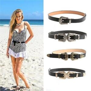 Womens Double Buckle Quality Leather Western Belt Ladies Waist Band KY