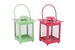 Metal funky Tea Light Lanterns Pink or Green Summer