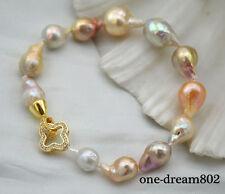 "8"" 18mm baroque white pink lavender reborn pearl bracelet"