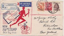 Australia 1950 FDC Eastwood NSW  8 1/2d Aborigine Registered Air mail to NZ