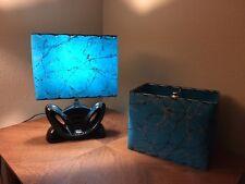 Mid Century Vintage Style Fiberglass Lamp Shade Modern Rectangular Teal