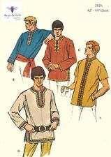"Vintage 1970's Sewing Pattern Rare Men's Hippy Nehru Shirt Chest 42"" - 44"" Large"