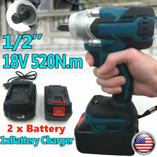 520nm 12 Electric Impact Wrench Cordless Brushless Gun 2 Battery Driver Tool