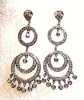 Vintage Deco Genuine Clear Crystal 925 Sterling Silver Chandelier Earrings