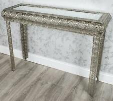 SILVER MOROCCAN EMBOSSED METAL GLASS CONSOLE SIDE HALL TABLE (GZ420)