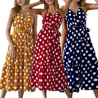 Women's Polka Dot Long Maxi Dress Sleeveless Party Summer Holiday Beach Sundress