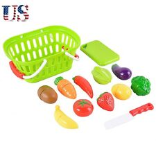 13-Piece Plastic Cutting Fruits and Vegetables Set with Basket Play Food Kit