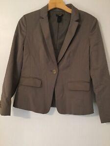 Ann Taylor Women Petite Size 0P Blazer Jacket Beige Dark One Button Career Work